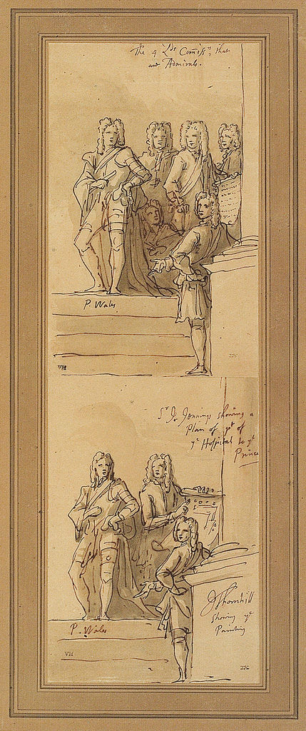 Detail of Sketches for the west wall of the Painted Hall, Greenwich by James Thornhill
