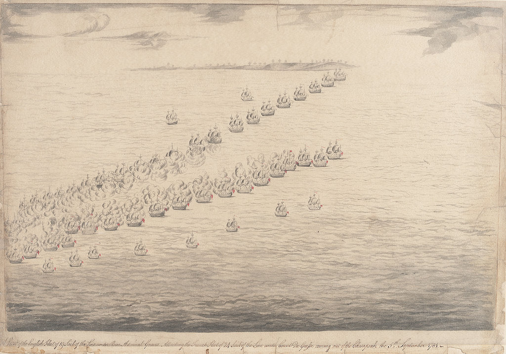 Detail of The English fleet attacking the French off Chesapeake Bay, 5 September 1781 by unknown
