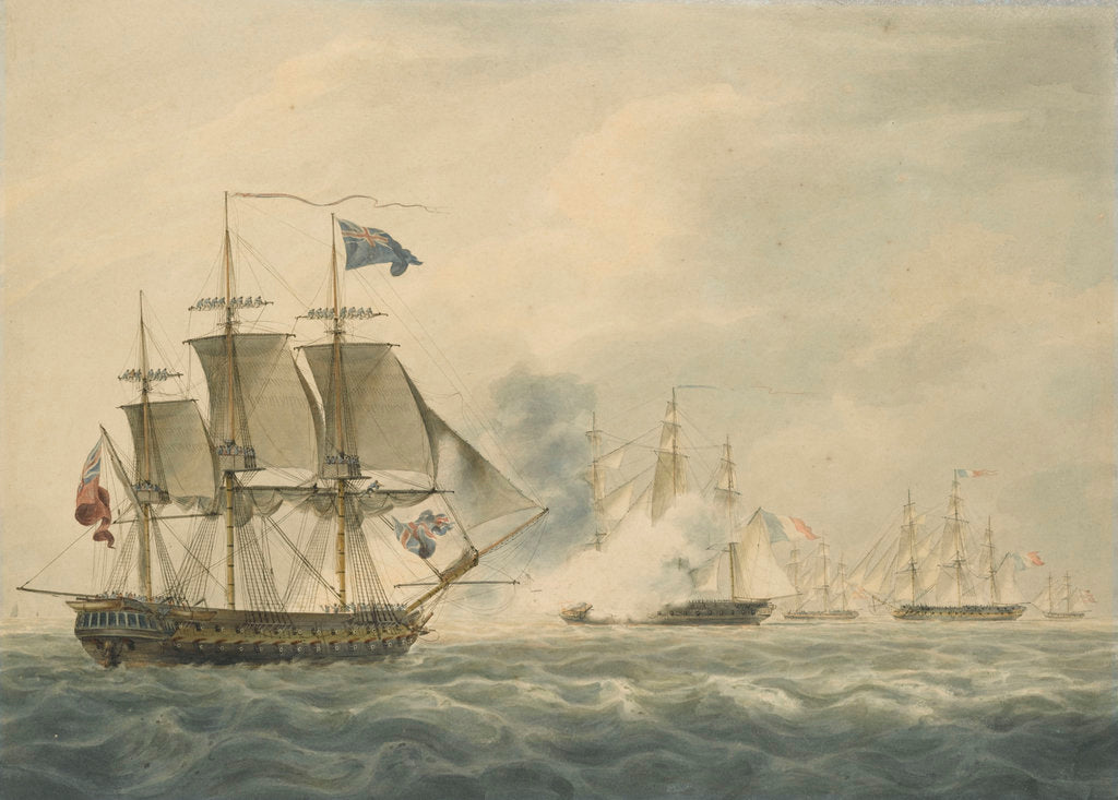 Detail of HMS 'Majestic' bearing down to attack the 'Terpsichore' and 'Atalante' 3 February 1814 by W. Anderson