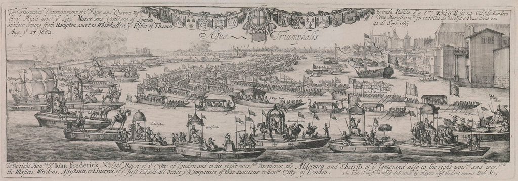Detail of Queen Catherine's procession up up the Thames, August 23 1662 by Dirck Stoop