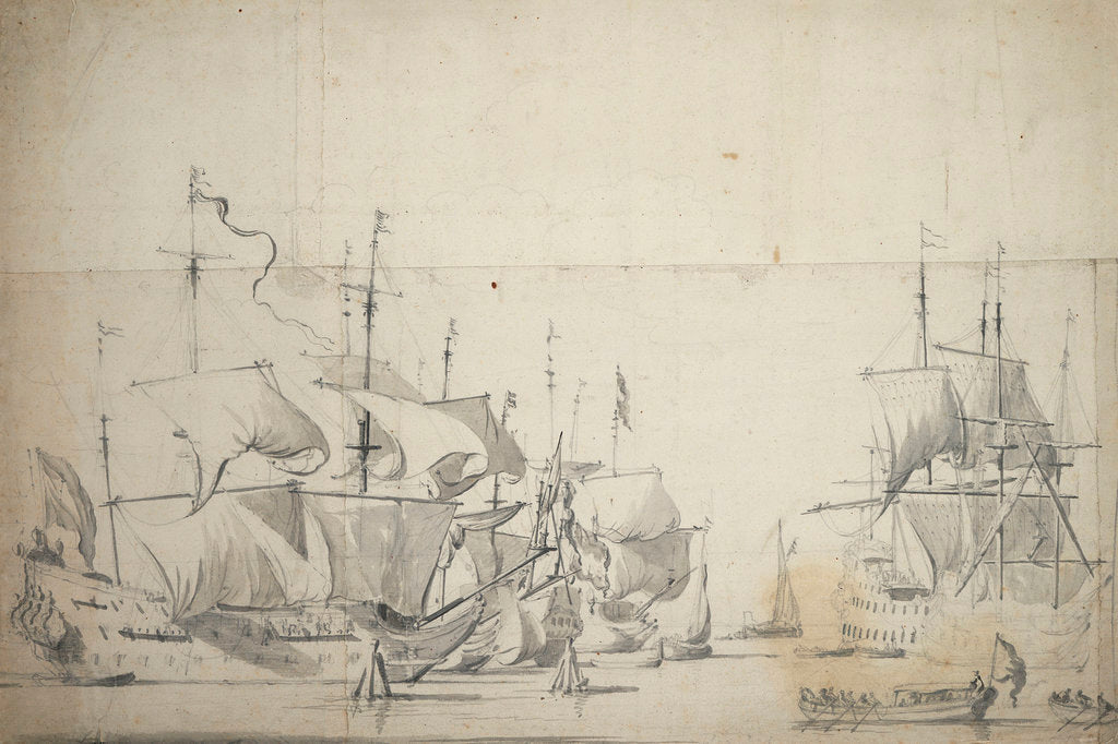 Detail of Dutch fighting ships drying sails by Willem van de Velde the Elder