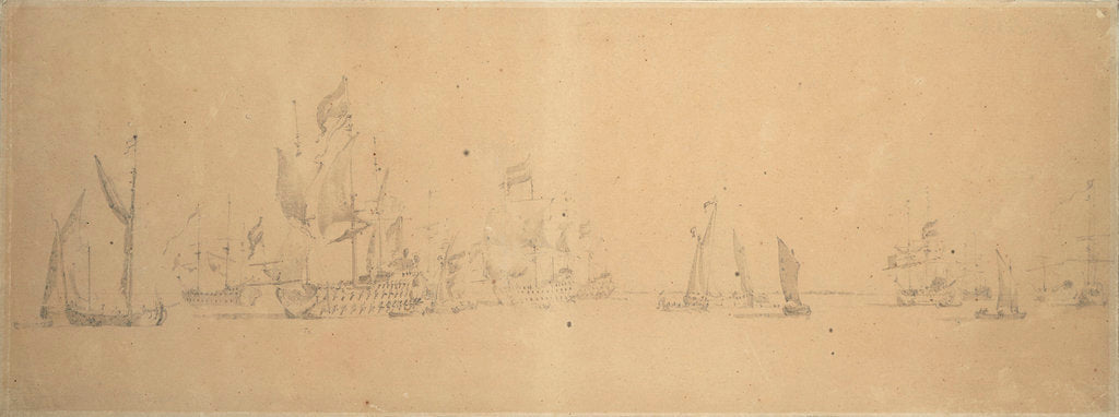 Detail of The Dutch fleet in light airs by Willem van de Velde the Elder