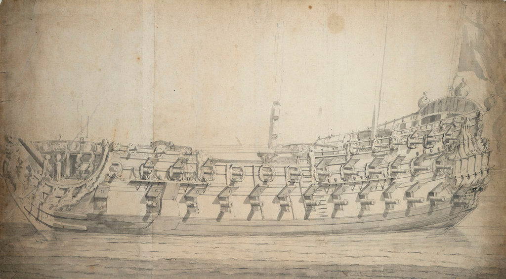 Portrait of the 'Grafton', third rate, built in 1679 and rebuilt in 1700 by Willem Van de Velde the Younger