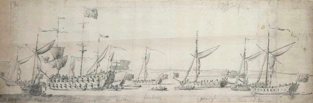 Detail of The 'Tiger' and yachts at anchor off the Isle of Sheppey by Willem van de Velde the Elder