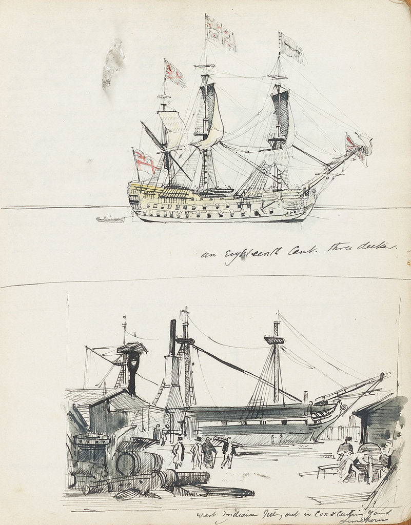 Detail of Sketch of an 18th century three-decker and view of a West Indiaman fitting out in Cox & Curtin Yard, Limehouse by John Everett