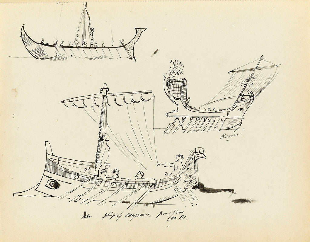 Detail of Sketches of early vessels including a Roman sail and oar vessel and ship of Odysseus, 500 BC (from a vase) by John Everett