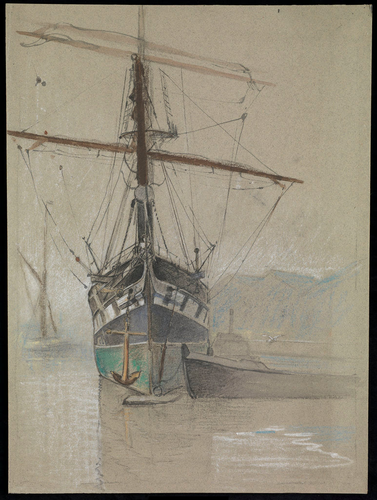 Bow view of 'Cutty Sark' (1869) as she appeared on her arrival in the Surrey Commercial Dock in 1921, with painted ports by John Everett