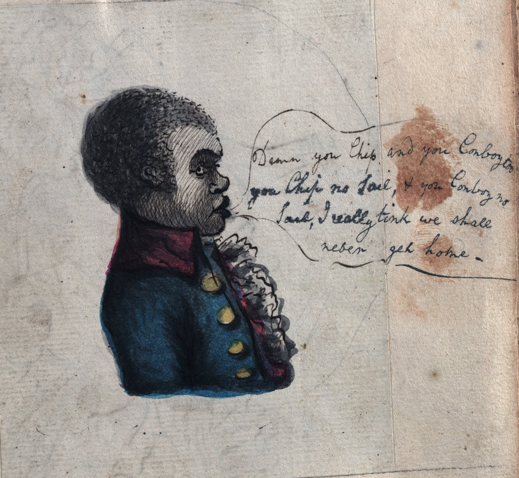 Detail of Sketch of Tom, the negro servant of Sir Robert Lawries by unknown