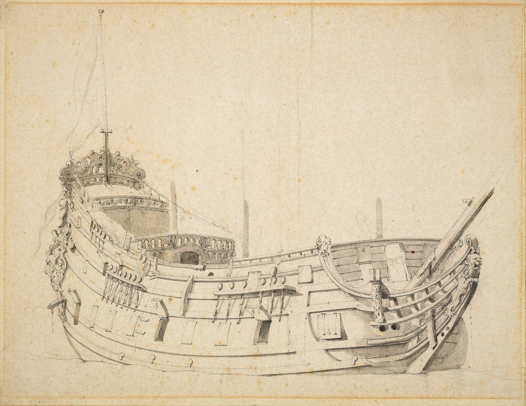 Detail of Portrait of a Dutch frigate by Willem Van de Velde the Younger