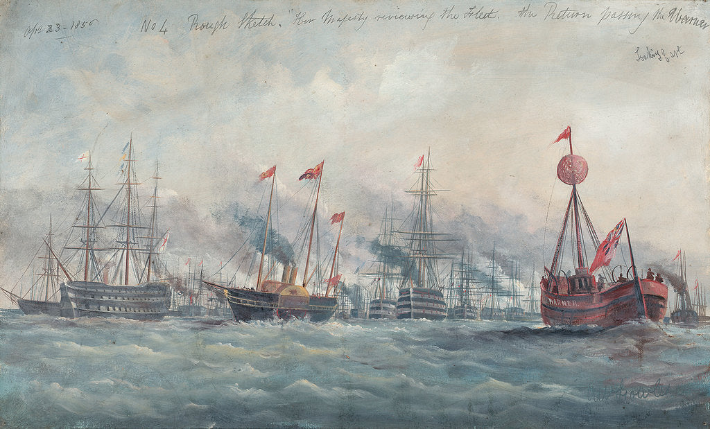 Detail of Her Majesty reviewing the fleet, 23 April 1856 by A.W. Howles