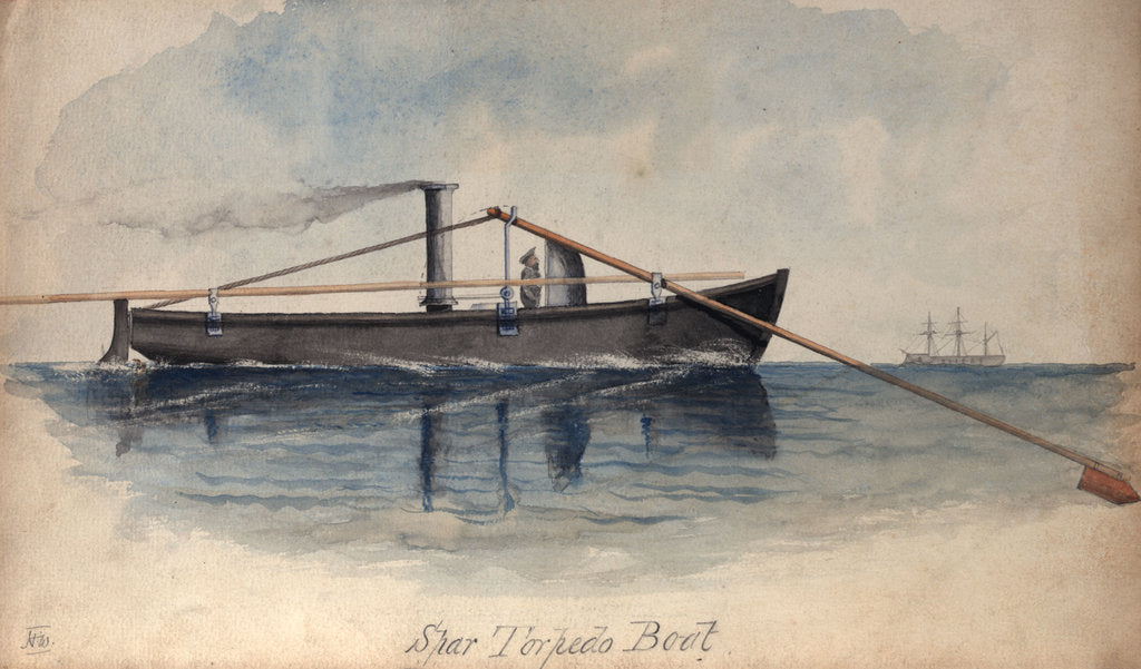Detail of Spar torpedo boat in a calm sea by H. W.