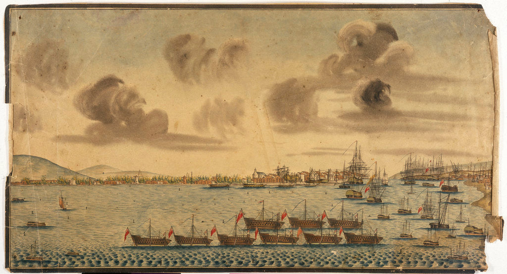 Detail of 18th century British dockyard and harbour by unknown