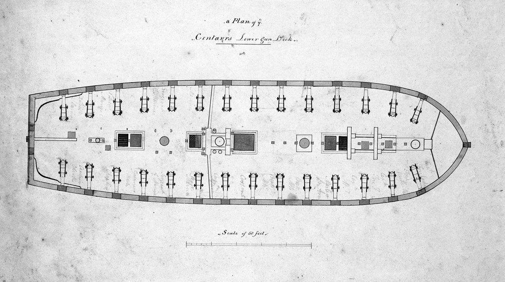 Detail of Plan of the lower deck of the 'Centaur' by unknown