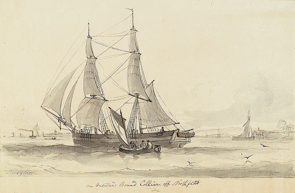 Detail of View of an outward bound collier off Northfleet and small single sail vessel by William John Huggins