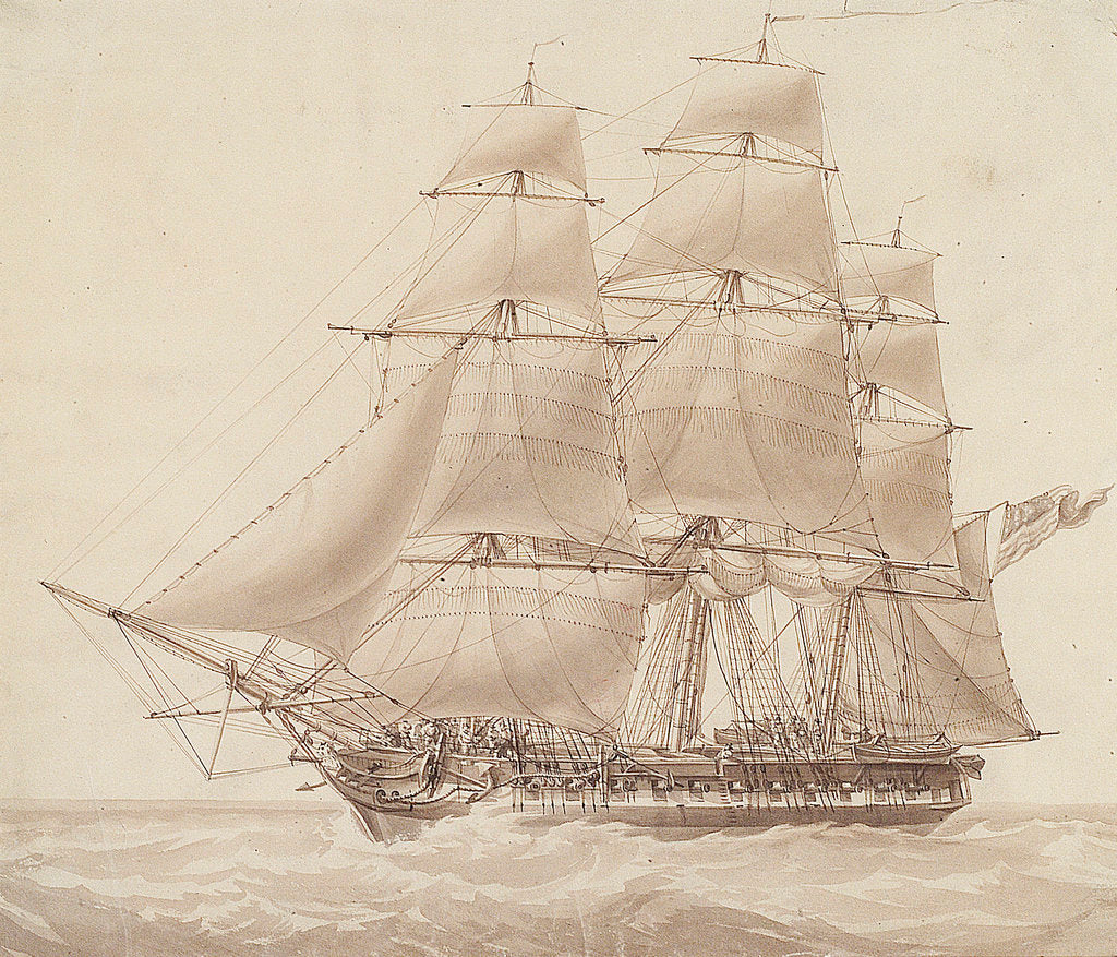 Detail of American corvette by William John Huggins