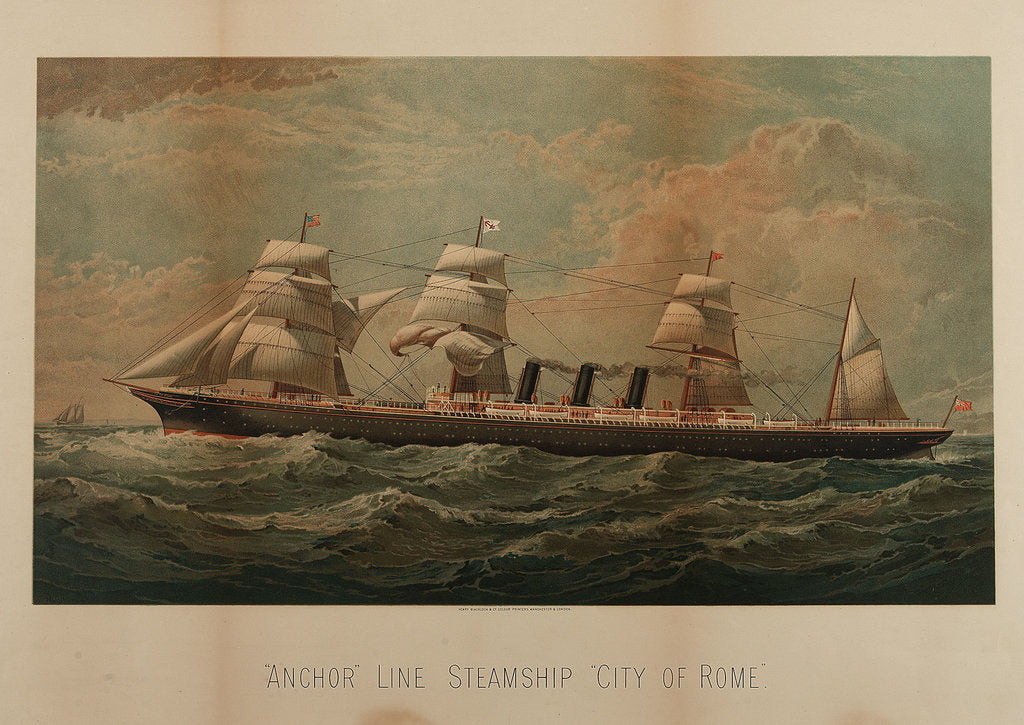 Detail of Anchor Line steamship 'City of Rome' by Henry Blacklock & Co (printers)