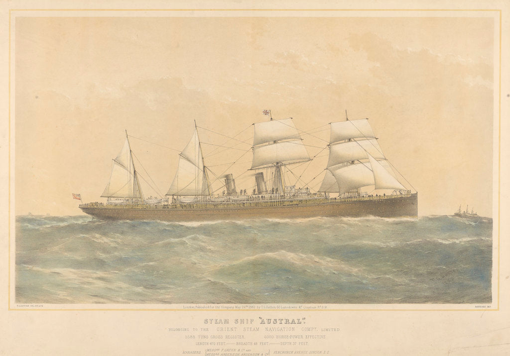 Detail of Steam ship Austral belonging to the Orient Steam Navigation Company Limited by Thomas Goldsworth Dutton