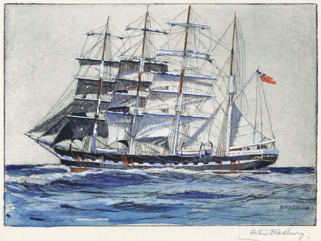 Pinmore square-rigged sailing vessel at sea by Arthur Bradbury