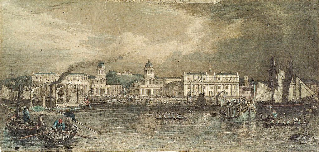 Detail of A royal visit to Greenwich Hospital by William & Frederick Havell