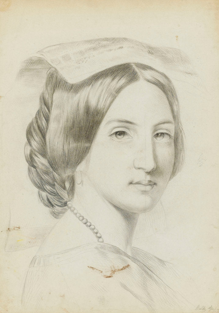 Detail of Study of the head and shoulders of a young woman with a middle parting by Margaret Louisa Herschel