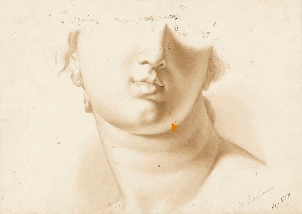 Detail of Study of the lower half of a human face, possibly a statue by Margaret Louisa Herschel