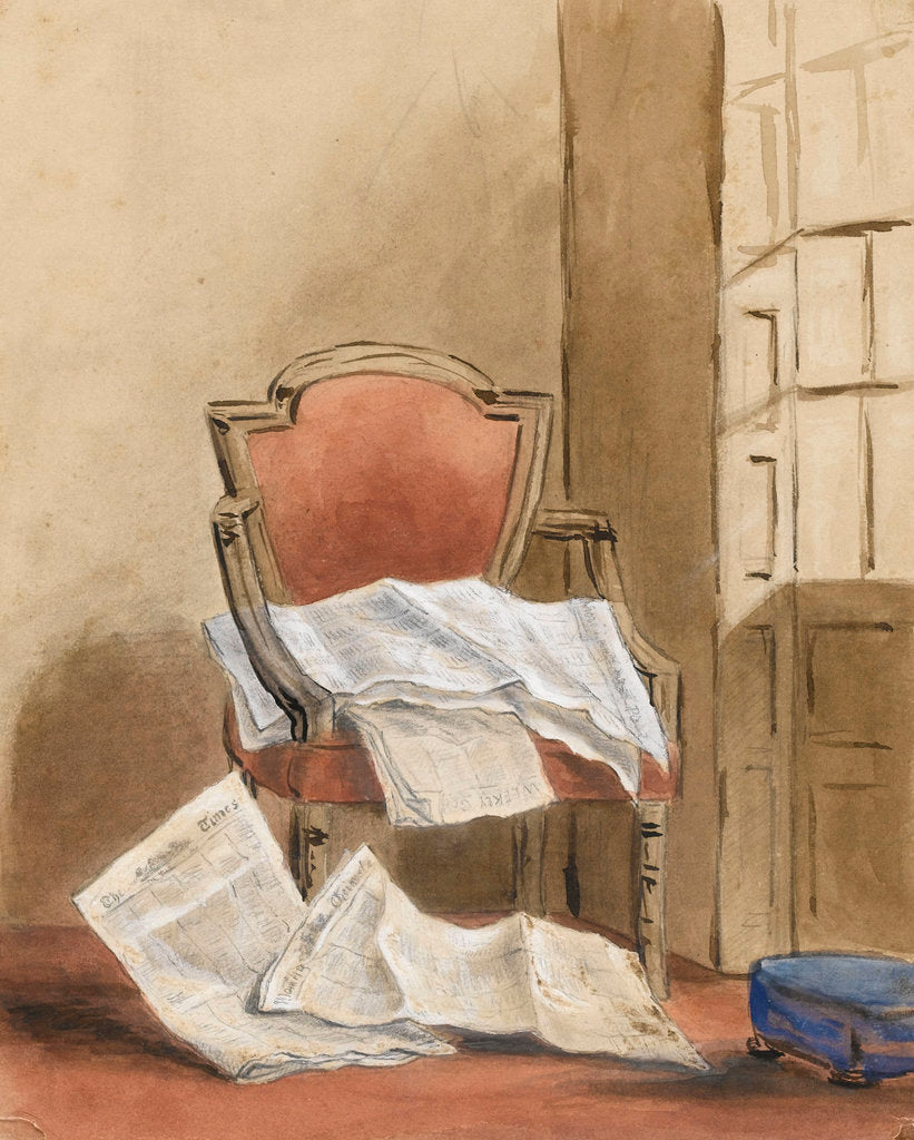 Detail of Study of an armchair with various newspapers by Margaret Louisa Herschel