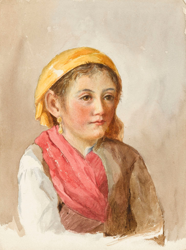 Detail of A young Italian peasant girl by Matilda Rose Herschel