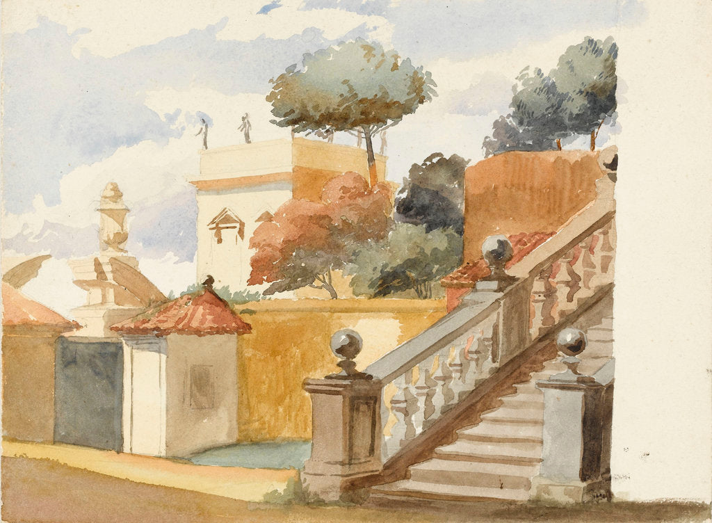 Detail of Roman jumble to the life. Staircase of uninteresting church of S. Dominico & S. Silvesto. Corner of Villa Aldobrandini with statues, in the garden of which are the trees - (pine, orange & eucalyptus) by Matilda Rose Herschel