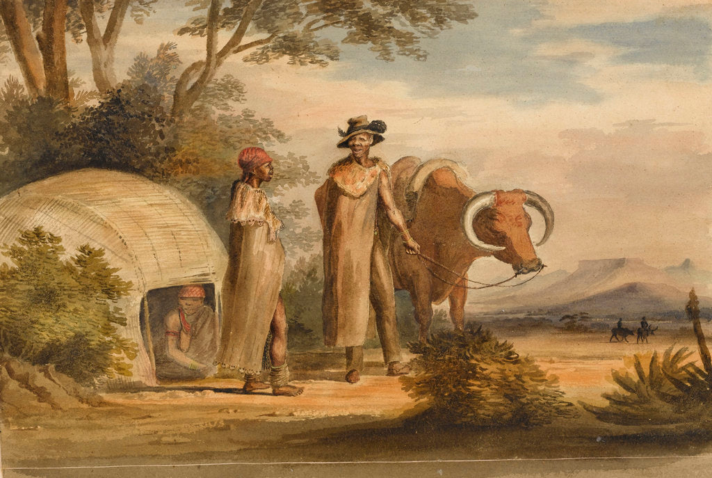 Detail of South African man and woman with an ox, a woman in a native built hut by unknown