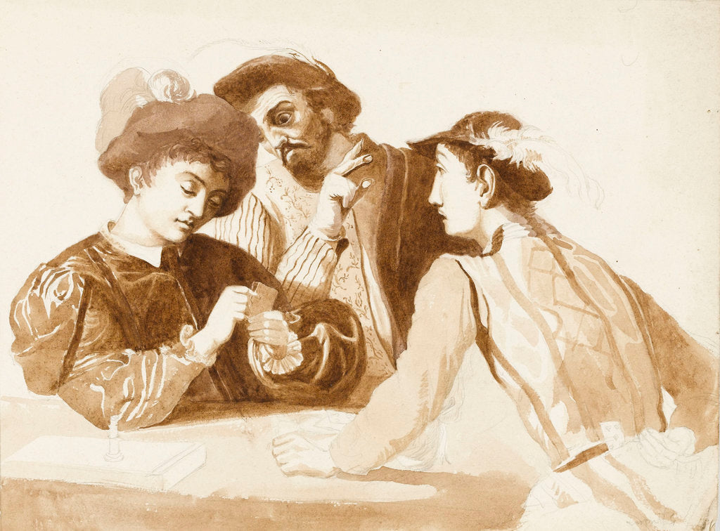 Detail of Sketch of Caravaggio's 'The Card Sharps' by unknown