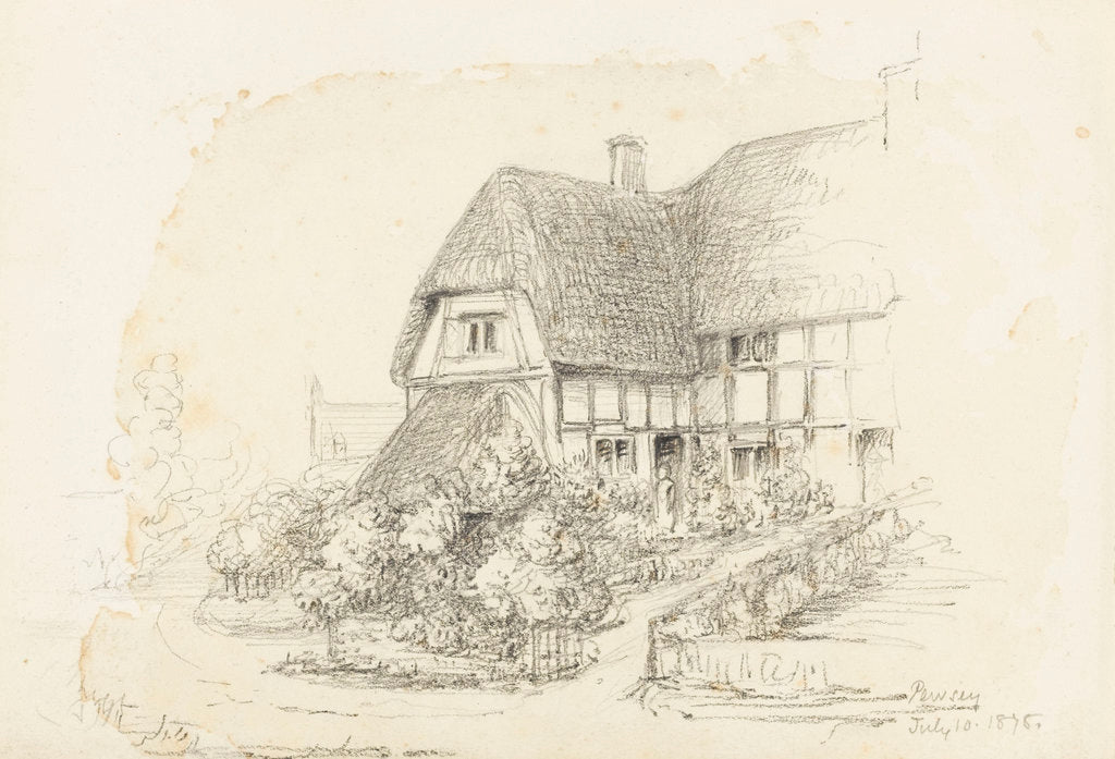Detail of Sketch of a thatched house at 'Pewsey, 10 July 1878' by unknown