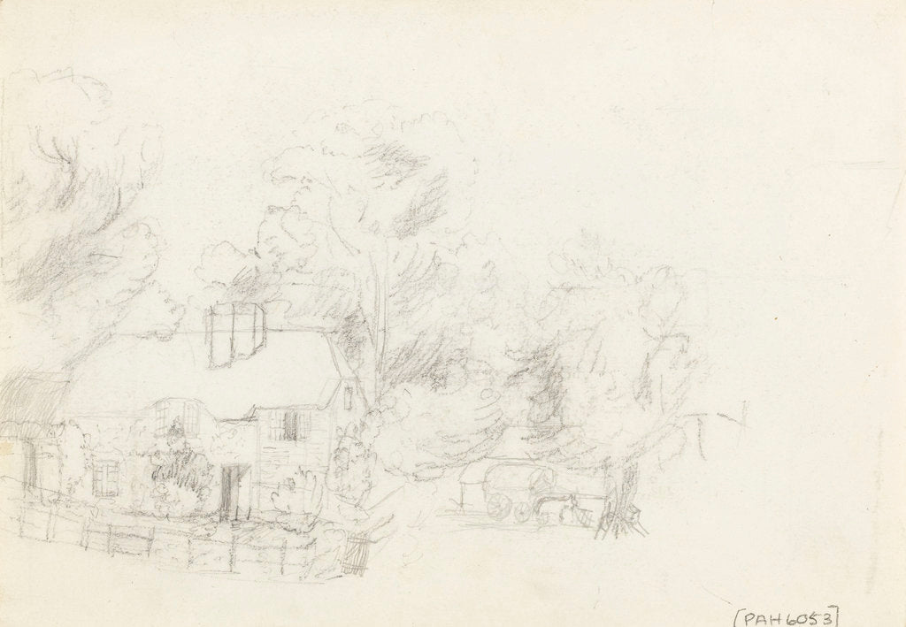 Detail of Country cottage sketched on reverse of 'The Farmyard. Litcombe Bowers - Aug 1878' by S.E. Hardcastle
