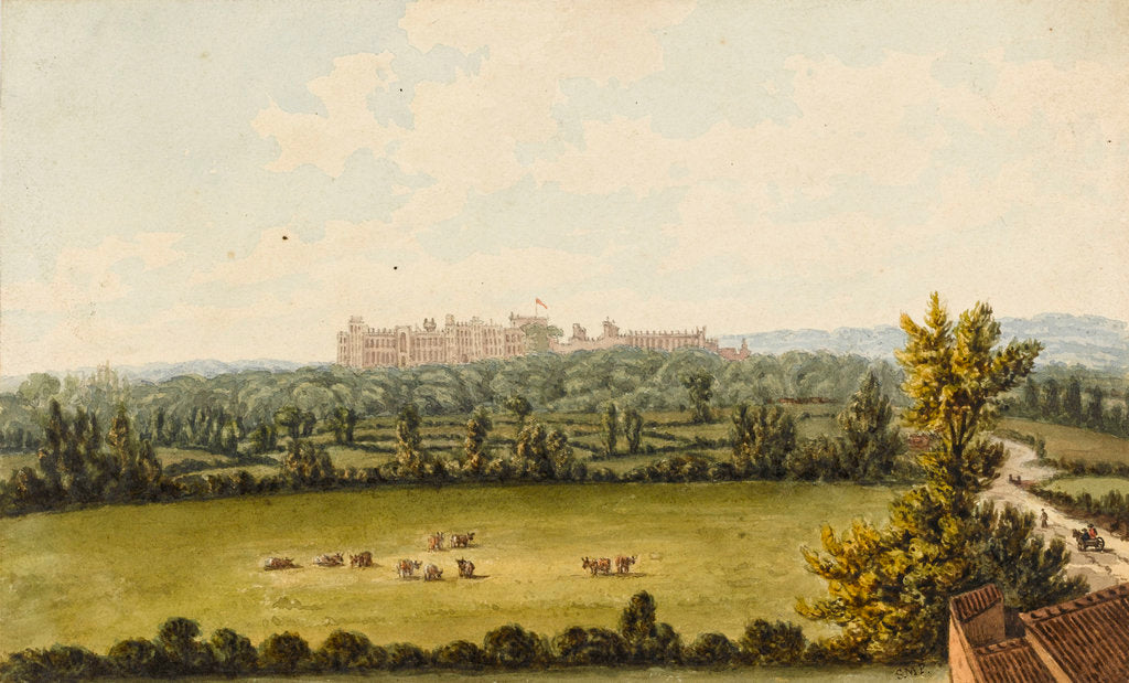 Detail of View of Windsor Castle from Slough house by Sarah Matilda Parry