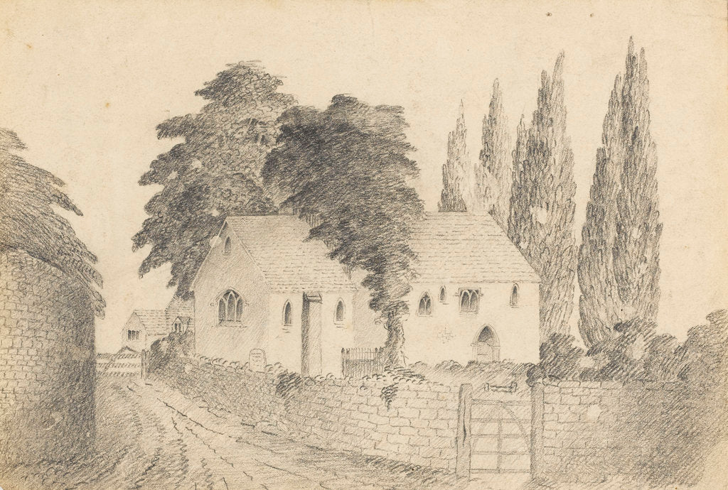 Detail of Old Upton church as before restoration (where Sir W.H. is buried)' by Mary Baldwin