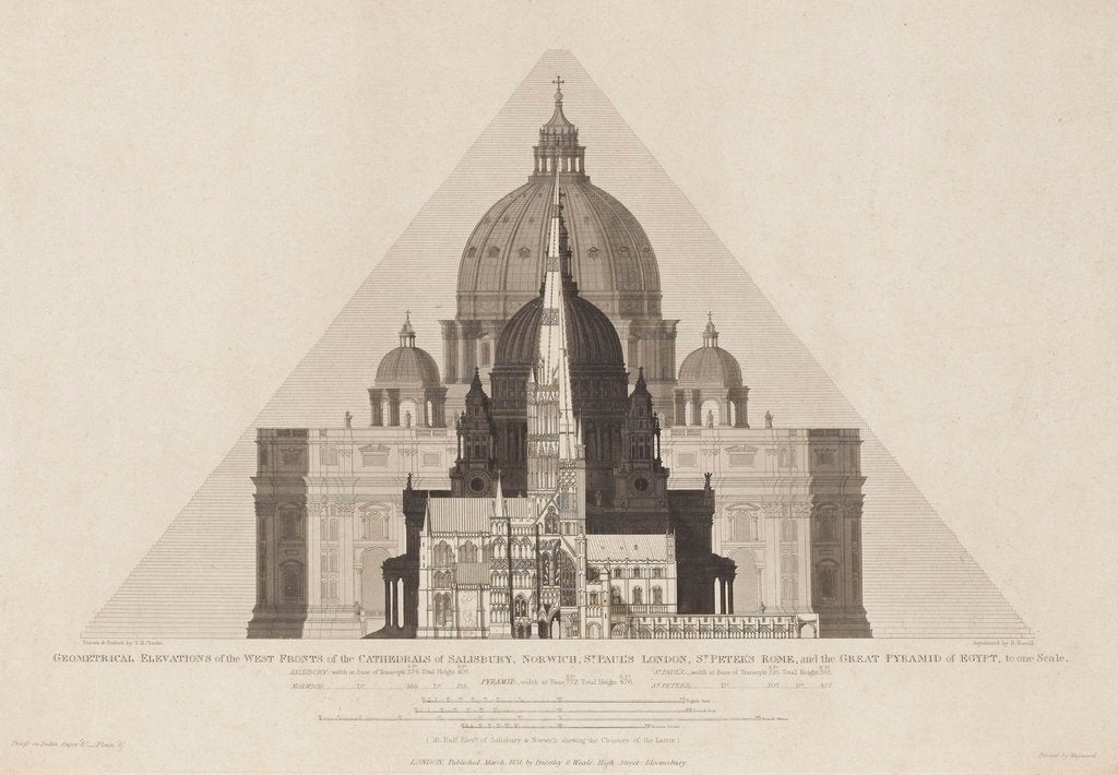Detail of Geometrical Elevations [...] of the Cathedrals of Salisbury, Norwich, St Paul's London, St Peter's Rome, and the Great Pyramid of Egypt, to one scale.' by T. H. Clarke