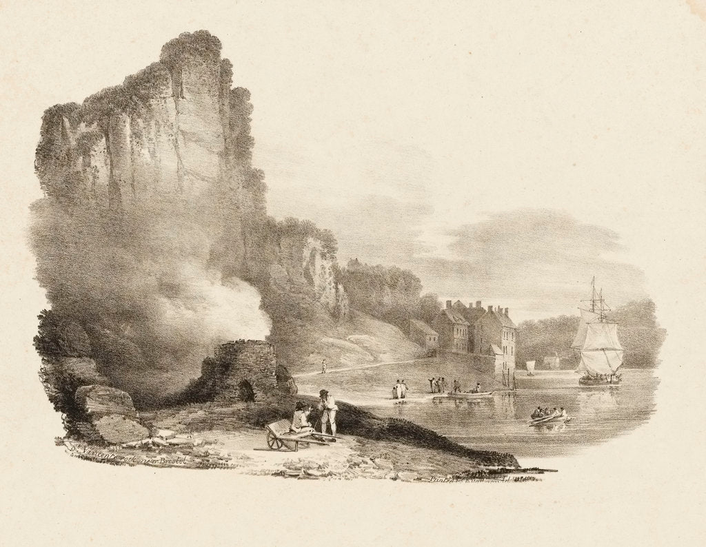 Detail of St Vincent rock near Bristol by Charles Joseph Hullmandel