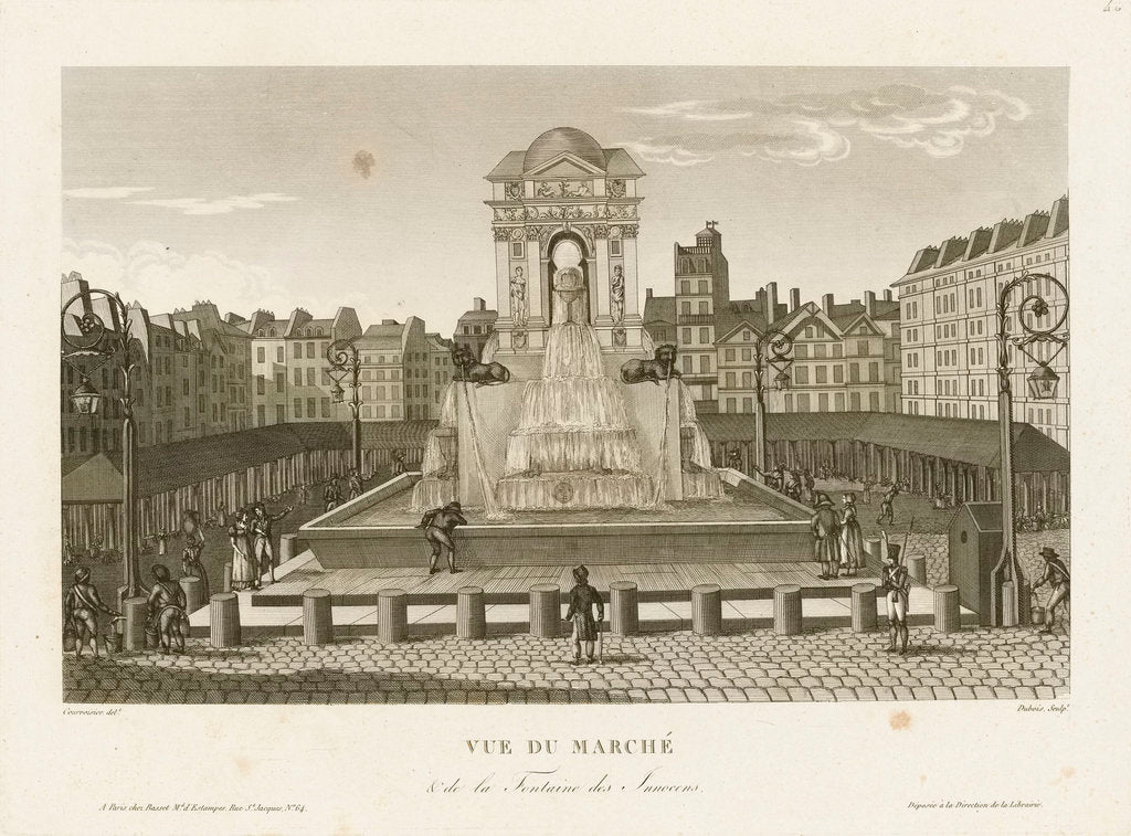 Detail of Vue du Marche & de la Fontaine des Innocens by Courvoisier