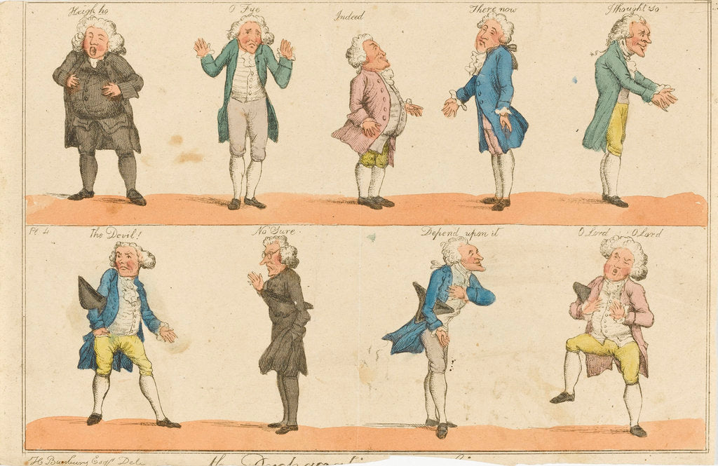 Detail of Nine caricature figures in 18th century costume by Henry William Bunbury