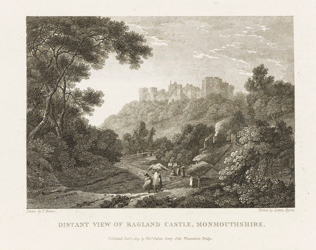 Detail of Distant View of Ragland Castle, Monmouthshire by Thomas Hearne