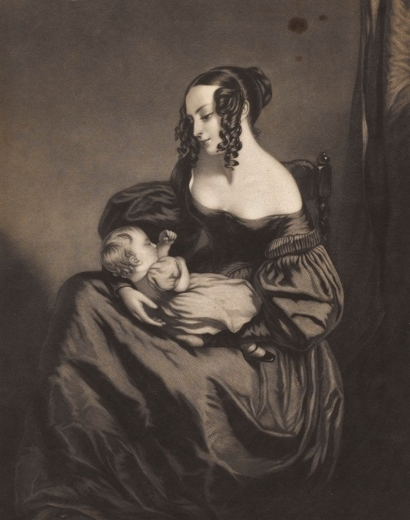 Detail of Young woman seated with a child on her lap by unknown
