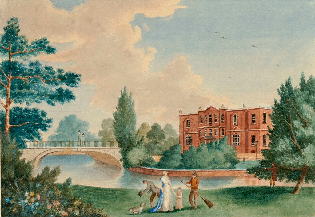 Detail of View of Merton House showing Lady Hamilton and Horatia in the grounds by unknown