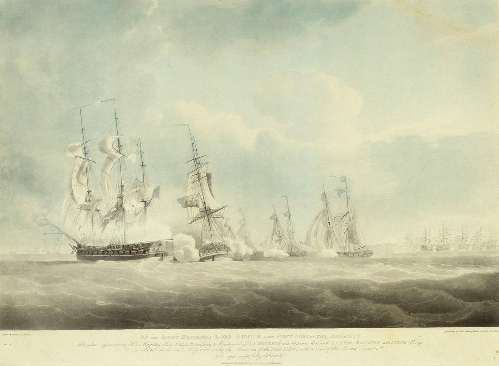 Detail of HMS 'Pallas' passing to windward of 'La Minerve' and 'La Lynx',  'Palinure' and 'Sylph' by Nicholas Pocock