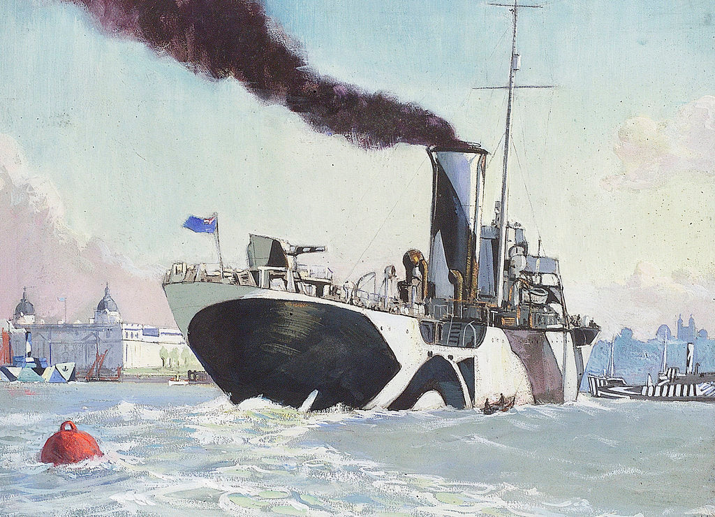 Detail of Royal Naval auxillary oil tanker off Greenwich, 1914-1918 by John Everett