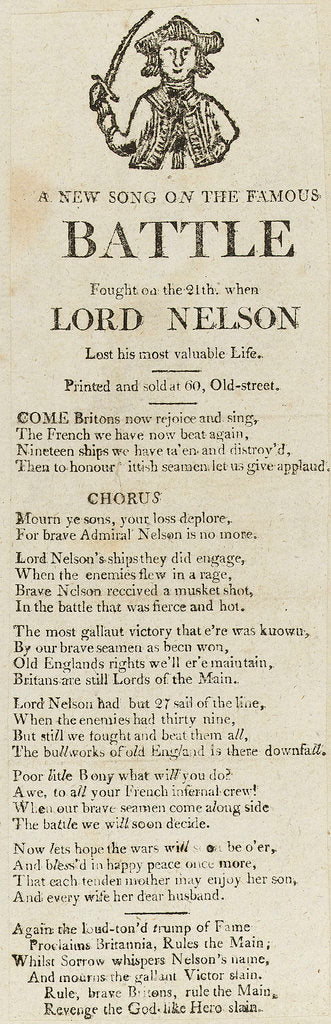 Detail of A New Song on the Famous Battle Fought on the 21st, when Lord Nelson Lost his most valuable life', illustrated with a Naval figure by unknown