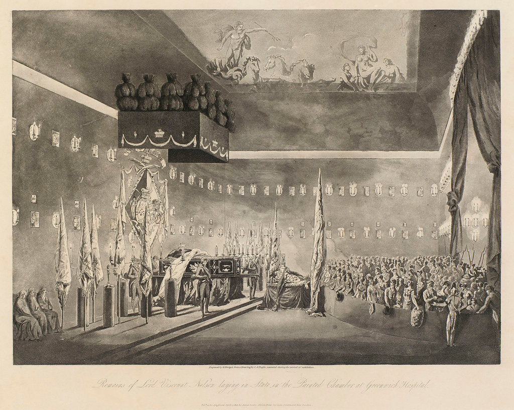 Detail of Remains of Lord Viscount Nelson laying in state in the Painted Chamber at Greenwich Hospital by Augustus Charles Pugin