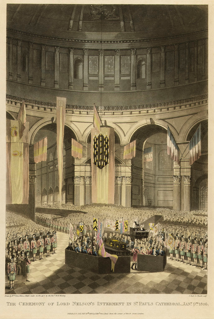 Detail of The Ceremony of Lord Nelson's Interment, in St Paul's Cathedral, Jany 9th 1806 by Holt Waring