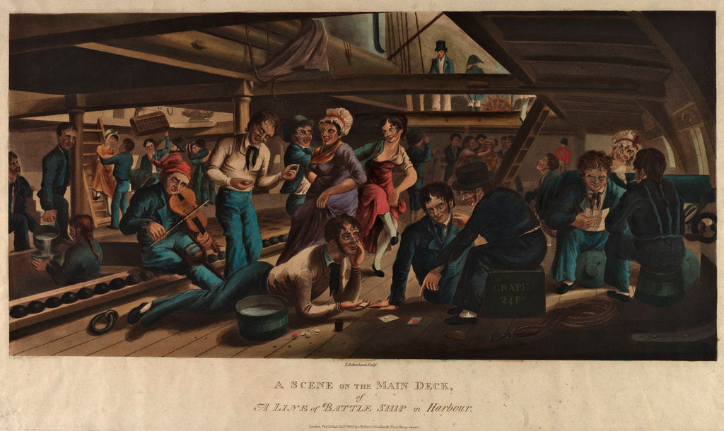 Detail of A scene on the main deck of a line of battle ship in harbour by Thomas Sutherland