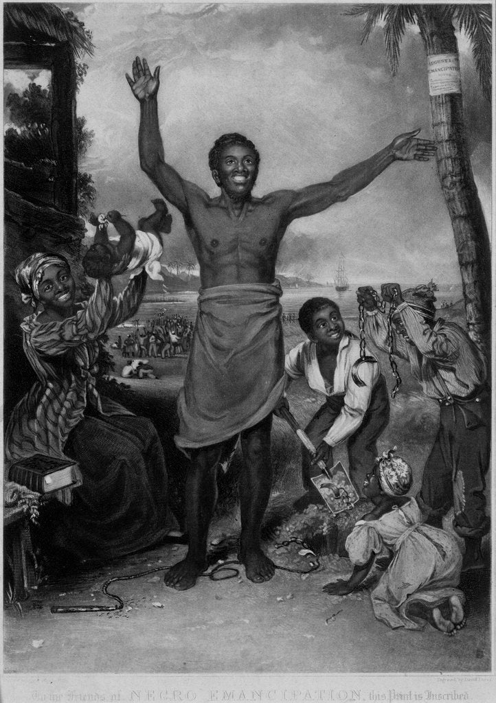 Detail of To the friends of Negro Emancipation, (Negros rejoicing at their freedom) by Alexander Rippingille