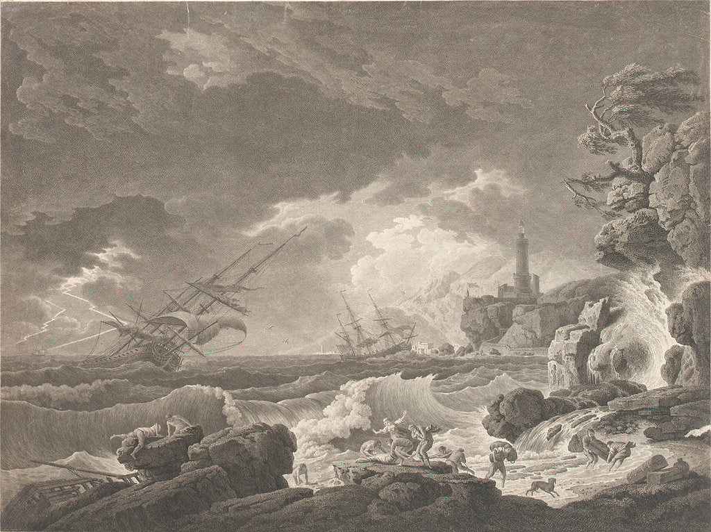 Detail of A Storm Depicting wrecked vessels off a rocky coast with survivors struggling ashore by Vernet