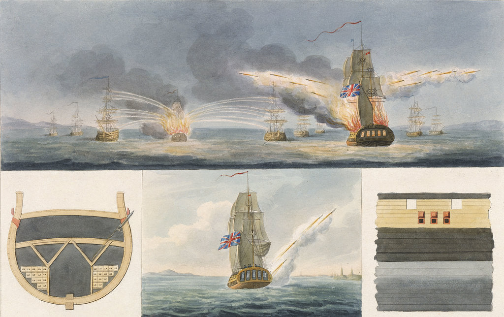 Detail of Fireships firing rockets and details of storage and launch by Colonel Congreve